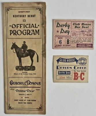 Lot of 3 Vintage 1945 Kentucky Derby Horse Race Official Program w/ 2 Tickets