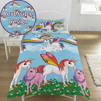 Rainbow Unicorns Single Duvet Cover Set Childrens Blue / Multi - 2 Designs In 1