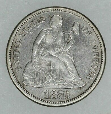 1876 Cc Seated Liberty Dime 10C Xf / Au Details Extra Fine To About Uncirc (6858