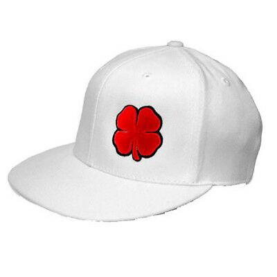 NEW Black Clover Flat Live Lucky White Red Flatbill Fitted S M Golf Hat 7dbd68672ce