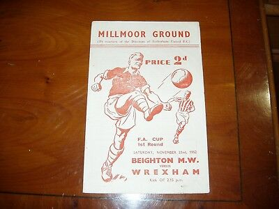 Beighton Miners Welfare v Wrexham FA Cup 1st Rd 1952/3 at Rotherham