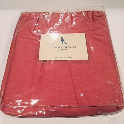 NEW POTTERY BARN KIDS Red Chambray Crib Skirt Christmas - Sheet Available Also