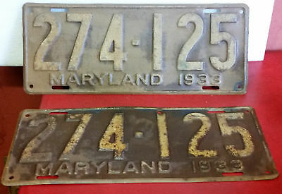 Antique 1933 Maryland Matched Set Pair License Plates 274-125
