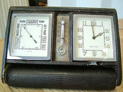 Rare Antique Jaeger Lecoultre Gentlemans Travel Clock Barometer Thermometer Nr