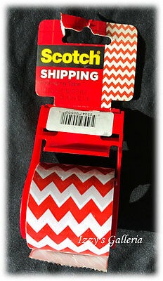 3M Scotch Shipping Packaging Tape Roll Christmas Red Zigzag Decorative