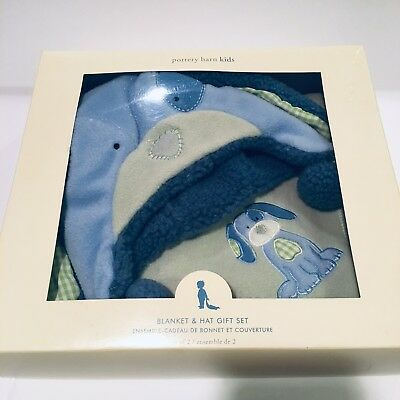 NEW POTTERY BARN KIDS Blue Green Puppy Crib Fleece Blanket & Hat Set - ADORABLE!