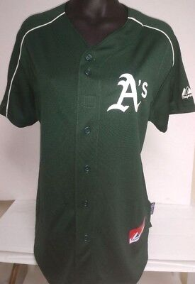 more photos 3a2ee 863df OAKLAND A'S ATHLETICS Womans Ladys Green Cool Base Jersey Majestic New Pick  Size
