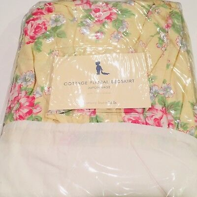NEW POTTERY BARN KIDS Shabby Chic Cottage Floral Yellow Pink Crib Skirt See Pics