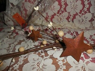 Pip Berry Primitive Garland cream/white w/ rusty stars nwt Country Garland 66""