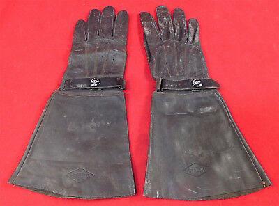 Vintage Grinnell Mens Black Leather Wide Cuff Gauntlet Motorcycle Driving Gloves