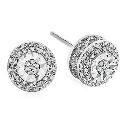 e91f5f474 1/10 CT. T.W. Double Halo Diamond Stud Earrings in Sterling Silver ...