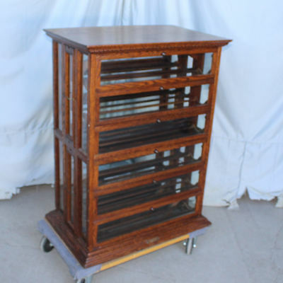 Antique Oak Ribbon Cabinet Storage and Display Case General Store Sewing Related