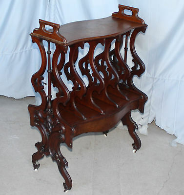 Antique Victorian Canterbury Bookcase Holder walnut Rococo Revival