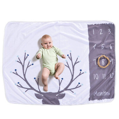 Baby Monthly Milestone Blanket For Girl Boy Floral Deer Horn Frame Newborn S0Q2