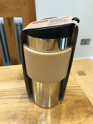 b6447b9f1ce BODUM TRAVEL MUG With Cork Band And Black Lid 350ml. BNWT