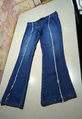 Women's Juniors Style Life Attitude Lace Up Fly Stretch Denim Blue Jeans Size 7