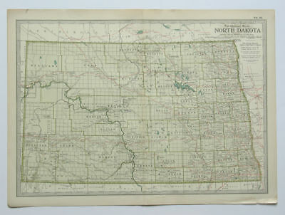 NORTH DAKOTA Map The Century Atlas 1897 Plate No. 26 Antique 16 x 11 Inch ND