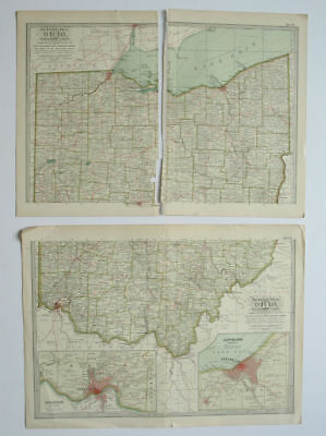 OHIO Northern and Southern Parts Maps The Century Atlas 1897 Plate Nos. 17-18 OH