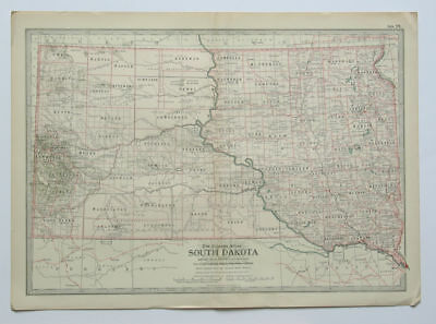 SOUTH DAKOTA Map The Century Atlas 1897 Plate No. 27 Antique 16 x 11 Inch SD