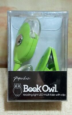 NEW Paperchase Book Owl Clip On LED Task Reading Light Lime Green