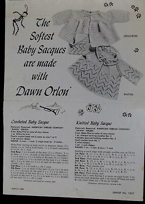 Vintage Knitted & Crochet Baby Sacques Sweater Pattern Leaflet 1067