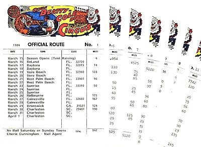1984 - Clyde Beatty Cole Bros Route Cards (7)