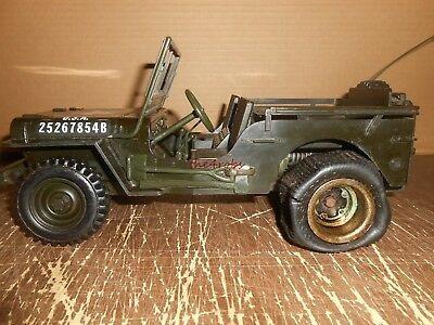 Vintage Cox US Army Jeep Gas Engine Tether Car