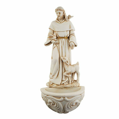 ST SAINT FRANCIS OF ASSISI  & Animals Wall Holy Water Font NEW! Franciscan Doves