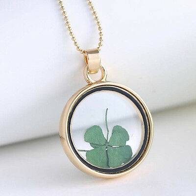 Four Leaf Clover Shamrock Real Flower Necklace Gold Plated Jewelry Lucky Gift CN