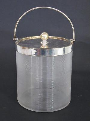 Superb Antique Art Deco Silver Plated & Ribbed Glass Ice Bucket 1920