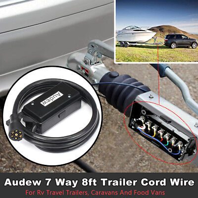 Audew 7 Way 8ft Trailer Cord Wire Junction Box Harness Truck RV Plug Cable