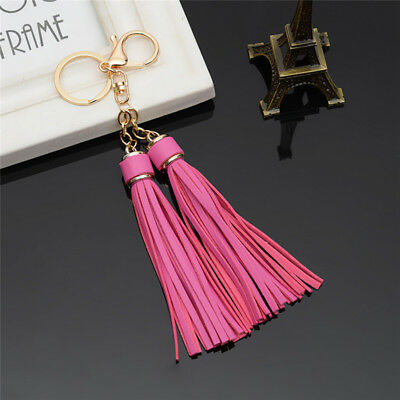 Faux Leather Double Tassels Keyring Key Chain Ring Keychain Bag Pendant Charm B