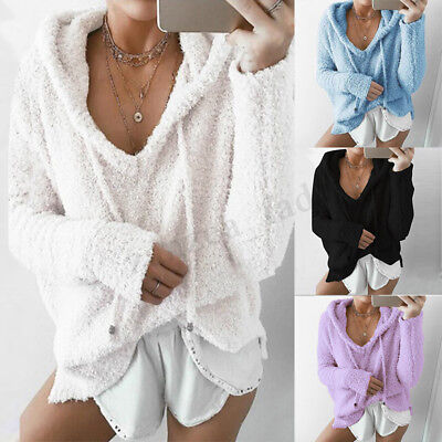 UK Women Winter Hooded Long Sleeve Fluffy Fur Sweatshirt Coat Hoodies Jumper