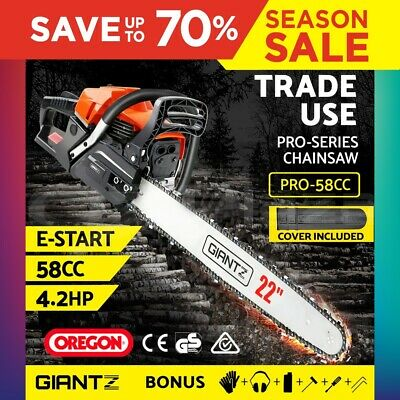 "GIANTZ 58cc Commercial Petrol Chainsaw 22"" Bar E-Start Chains Saw Tree Pruning"