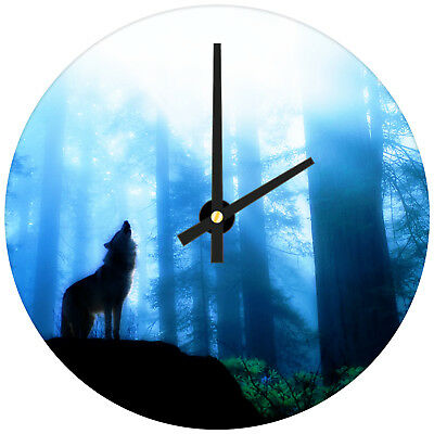 Blue Black Forest Wolf Modern Animal Glass Large Kitchen Bedroom Wall Clock