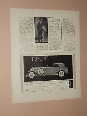 1930 Dupont Town Car Luxury Auto Ad Dupont Motors Ad