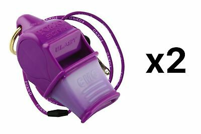 Fox 40 Sonik Blast CMG 2-Chamber Pealess Whistle with Lanyard, Purple (2-Pack)