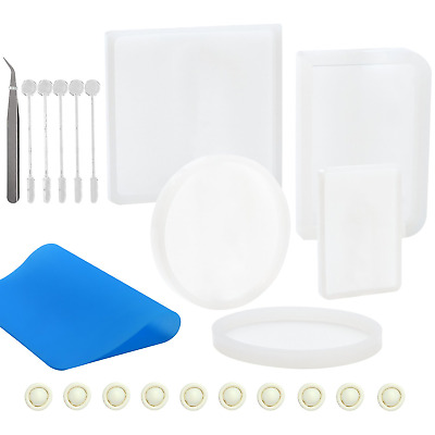 Keriber 23 Pieces Silicone Resin Coaster Molds Casting Include Square,...