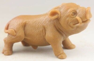 Chinese old natural yellow jade hand-carved Boar statue 4.1 inch