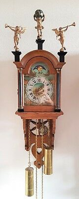 Kiga Wall Clock Dutch Vintage Schippertje Ship Clock Oak Bell Strike Moonphase
