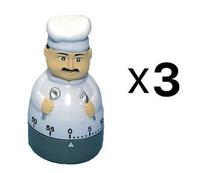 Fox Run Cute Chef Cooking Kitchen Timer 60 Minutes Loud Long Ring/Alarm (3-Pack)