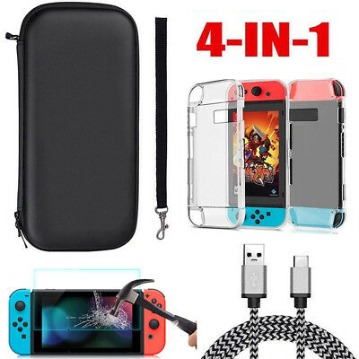 For Nintendo Switch Travel Carry Case Bag+Screen Protector+Cover +Charging Cable