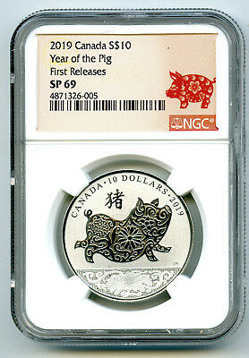 2019 $10 Canada Silver 10 Dollar Year Of The Pig Ngc Sp69 First Releases