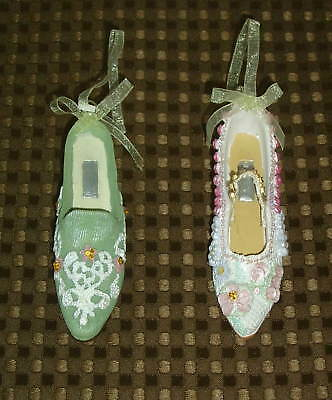 """2 Decorative 4"""" Collectible Miniature Shoes in VGUC, FREE SHIP"""