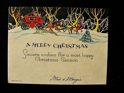 Stagecoach Horses In Snowy Forest Yellow Trees Black Sky Art Deco Christmas Card