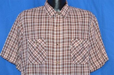 vintage 80s LEVIS BROWN WHITE PLAID SHORT SLEEVE MENS TAPERED CASUAL SHIRT LRG L