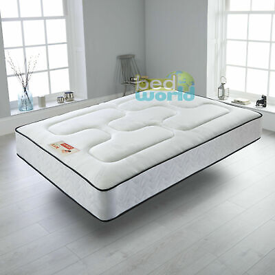 White Quilted Sprung Mattress 3Ft 4Ft'6 5Ft Memory Foam Topped Mattress Double