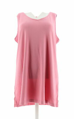 84aadfdc8ae Isaac Mizrahi Essentials V-Neck Tunic Tank Top Wild Rose XL NEW A306536