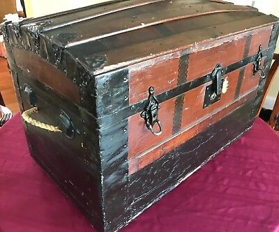 Antique Victorian wood trunk complete with the original wood tray insert & box w