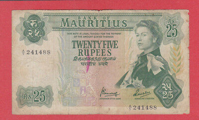 MAURITIUS - 25 Rupees Banknote - QEII PORTRAIT TYPE 1967 - Circulated - LOOK!!